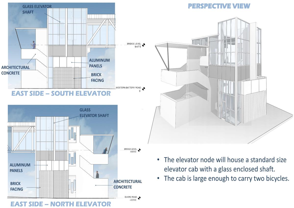 The elevator node will house a standard size elevator cab with a glass enclosed shaft. The cab is large enough to carry two bicycles.
