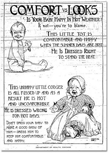 Two drawings of a baby, one in thick lacy clothing and the other in only diapers and a shirt, show how to dress your baby for summer and how to not to do so.