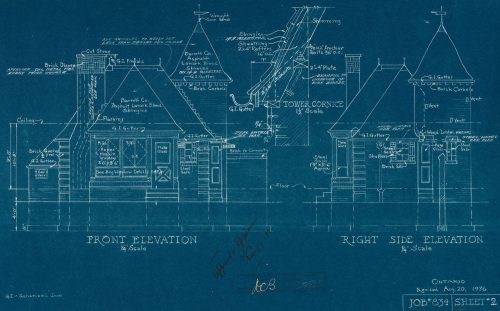 Blueprint of gas service station, 910 Lake Shore Road, 1936