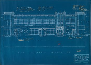 Blueprint of facade of two-storey building with long rows of windows.