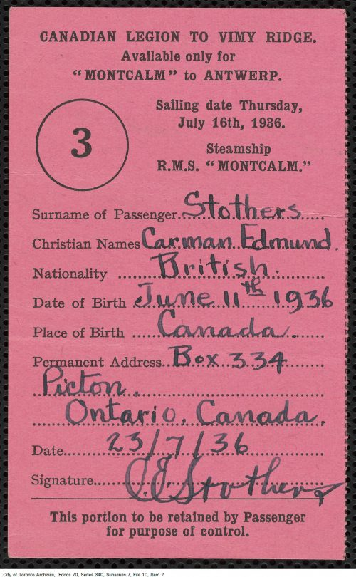 Ticket stub for SS Montcalm