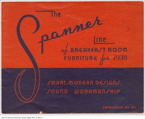 Blue and red cover of Spanner furniture catalogue