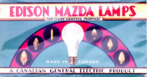 Advertisement showing different types of lightbulbs.