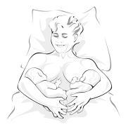Woman holding 2 babies like a shape of V