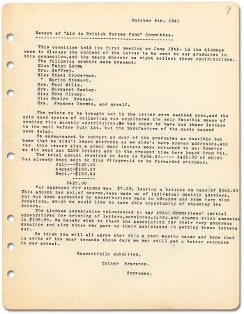 "Report of ""Aid to British Nurses Fund"" Committee 1941"