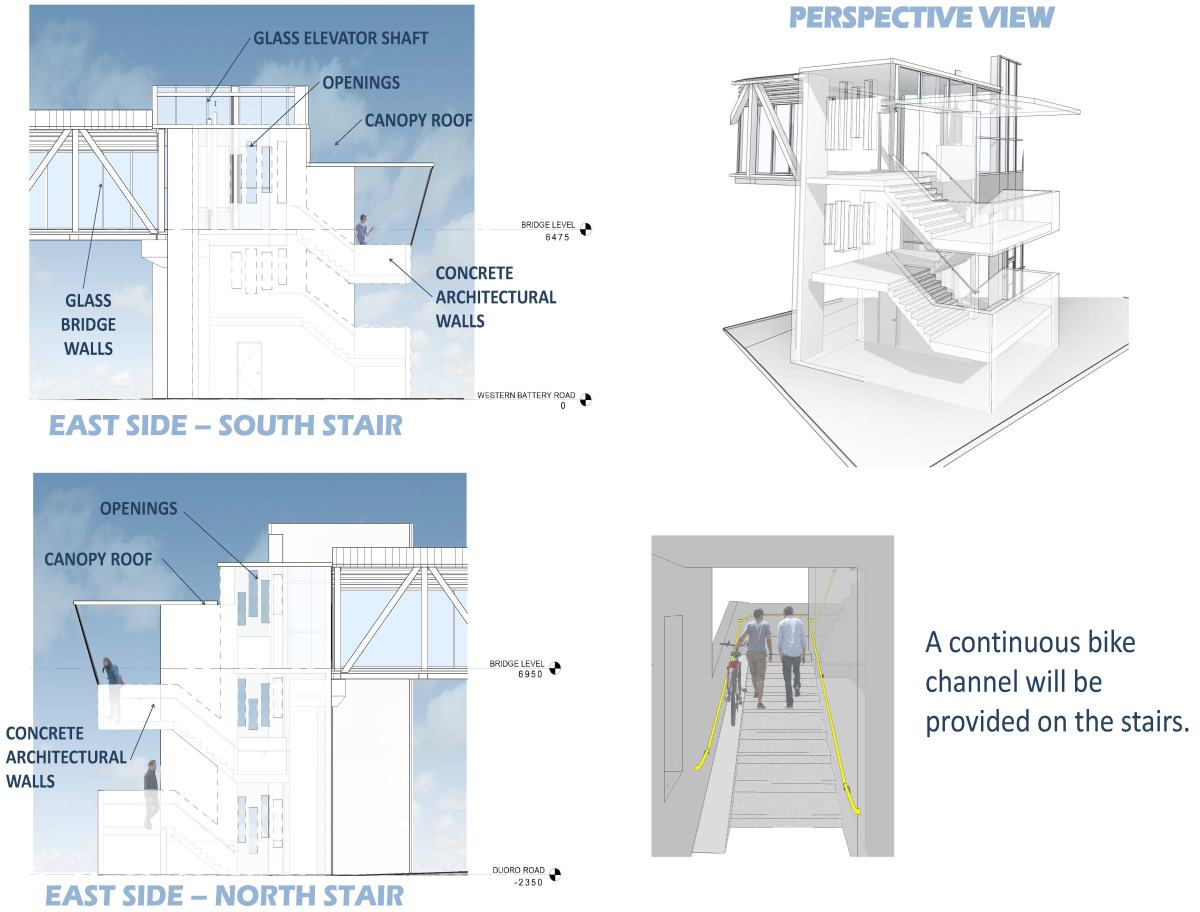 Design elements include: concrete architectural walls on stairs, glass bridge walls, canopy roof, open air openings, and a continuous bike channel at the four flights of stairs.
