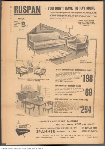 Ad showing modern living room and dining room furniture.