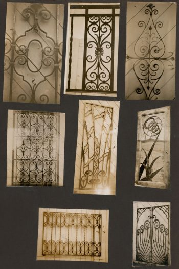 Photographs of decorative metalwork.