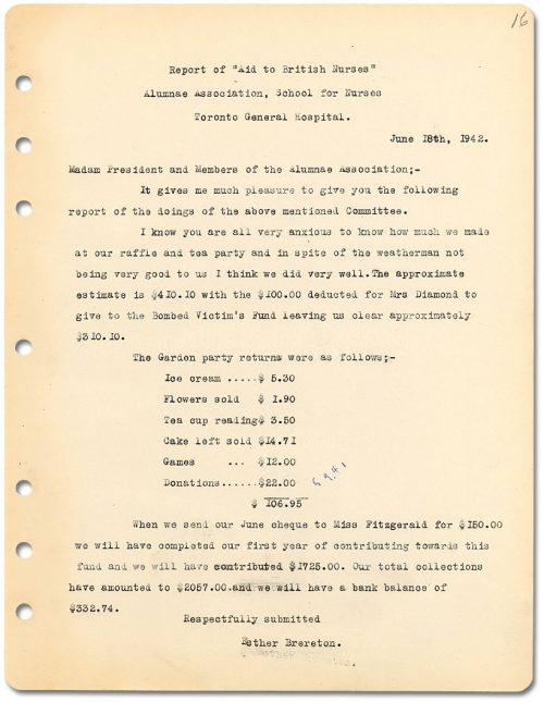 Report of Aid to British Nurses, 1942