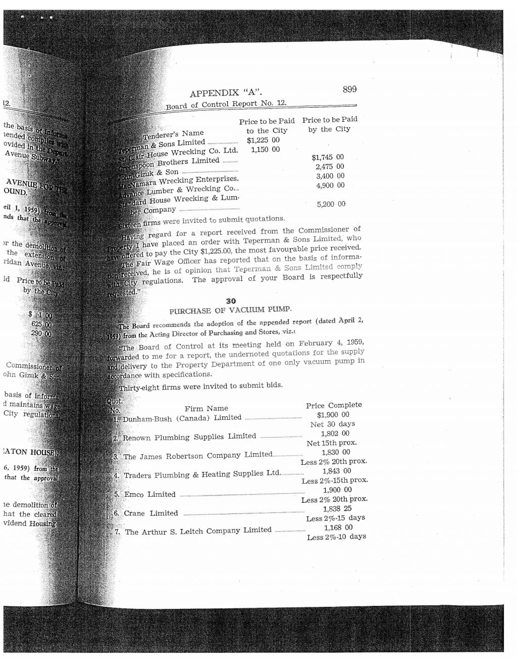 "Board of Control Report No. 7, Appendix A, 1959: ""Proposed Housing Project - 320 Seaton Street"" and ""Demolition of No. 320 Seaton Street (Old Seaton House)""."