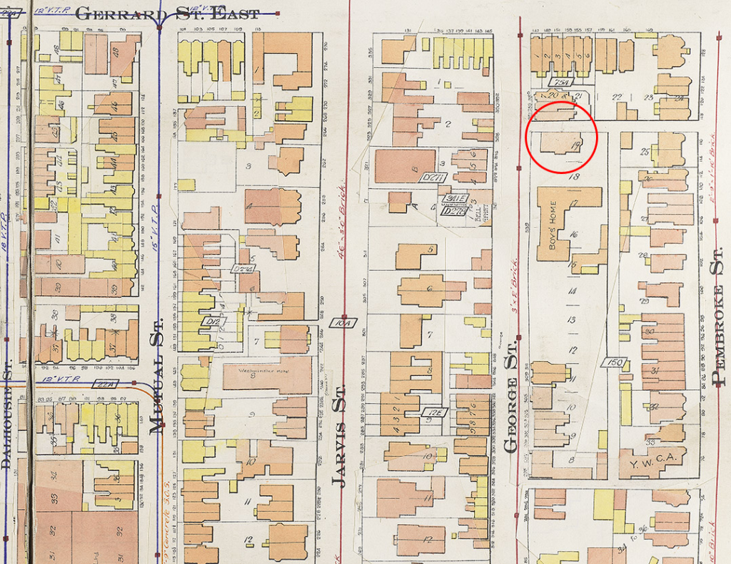 Goad's Atlas, 1910, showing George Street and the location of the Boys' Home and the Schoolhouse which still remains today.
