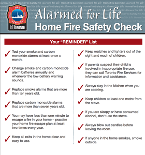 alarmed for life home fire safety check reminder list