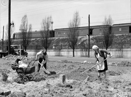 A man and a woman rake and dig a rough patch of soil. A baby carriage stands next to them.