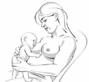 woman providing back and neck support as the baby move towards her breast