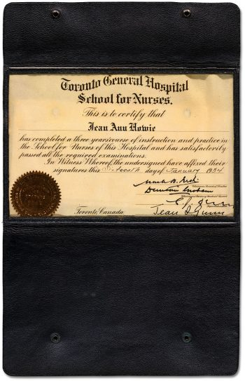 Toronto General Hospital School for Nurses certificate 1934