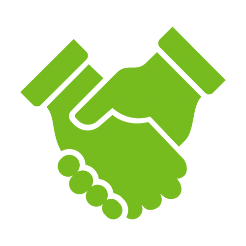 Shaking hands icon representing respect