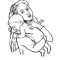 adult burping baby over shoulder