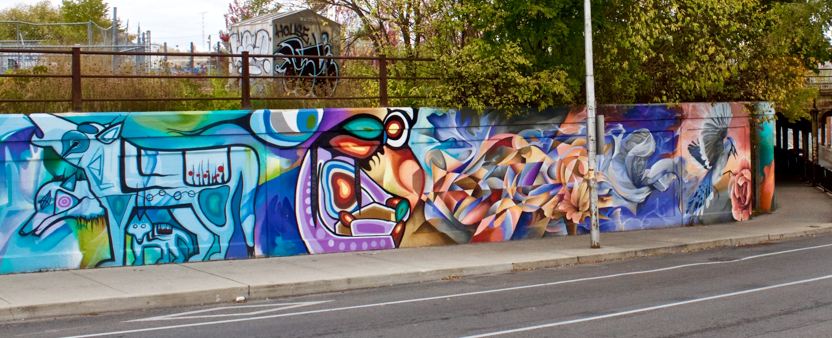Street art on the underpass on Dupont Street between Osler Street and Dundas Street West.