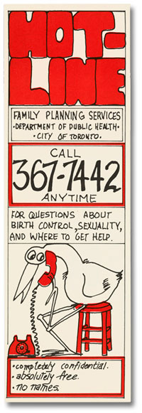 Bookmark with phone number and a cartoon of a stork using the phone.