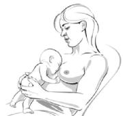 woman holding baby on upper chest and between breasts