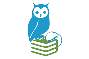 An image of an owl sitting on top of books.