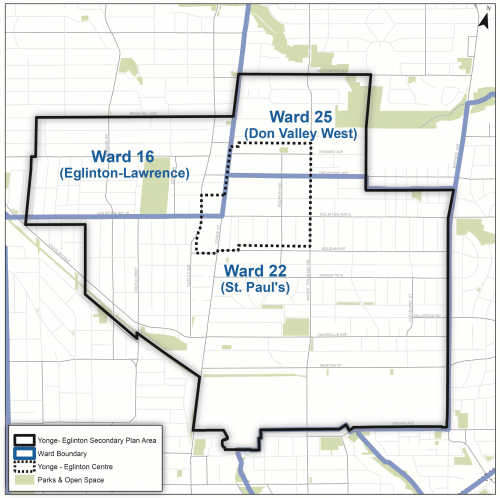 Map showing Yonge-Eglinton secondary plan boundary, Yonge-Eglinton Centre boundary, and boundaries for wards 16, 22 and 25.