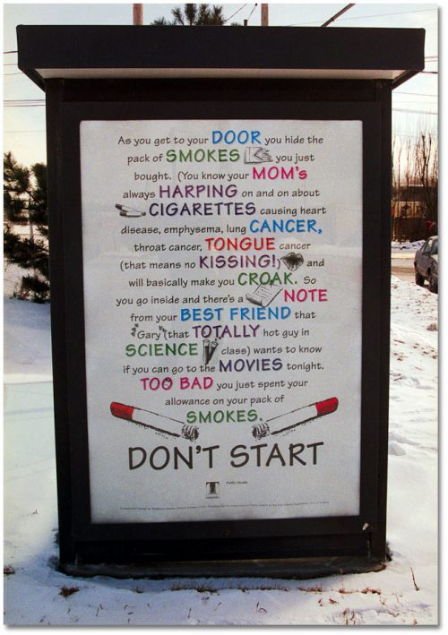 Poster that explains why teenagers should not start smoking.