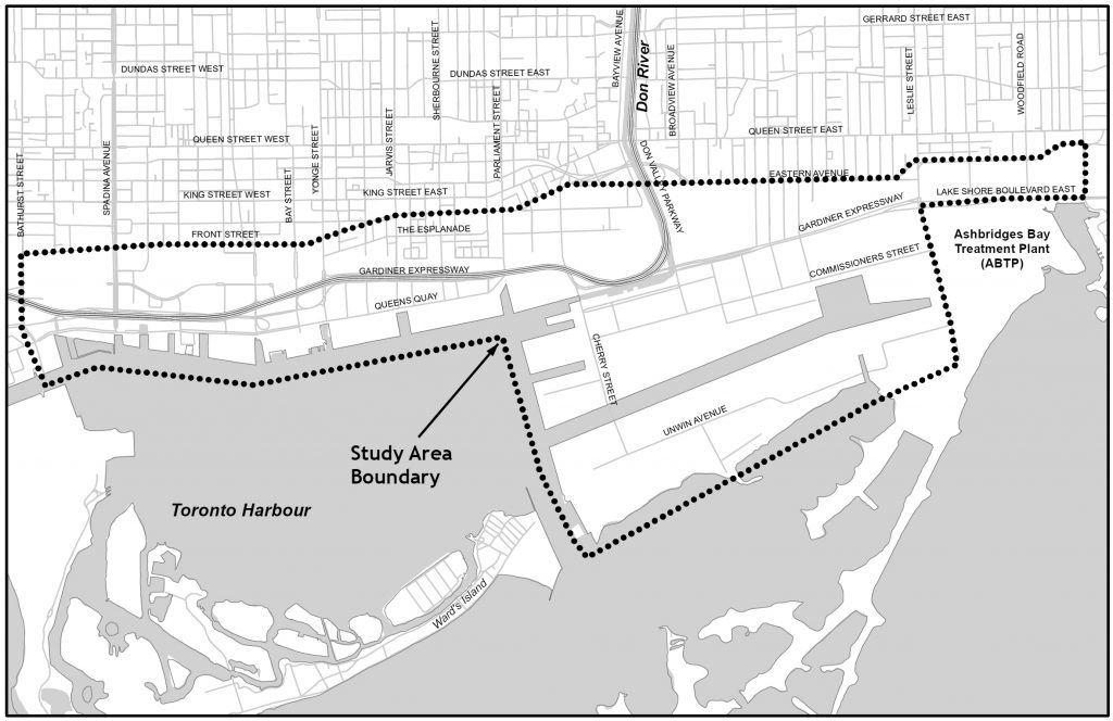 Map showing study area in downtown Toronto - a dotted line encloses an area which includes the waterfront and port lands properties