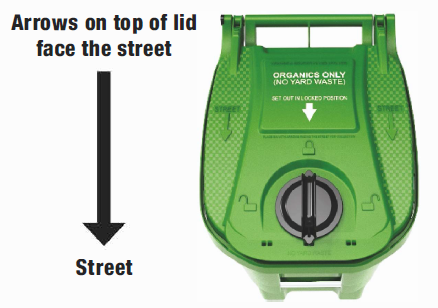 Green Bin in proper position with arrows on lid squarely facing the street and the handle in the locked position