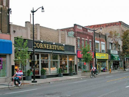 A segment along the street of the Junction Business Improvement Area.