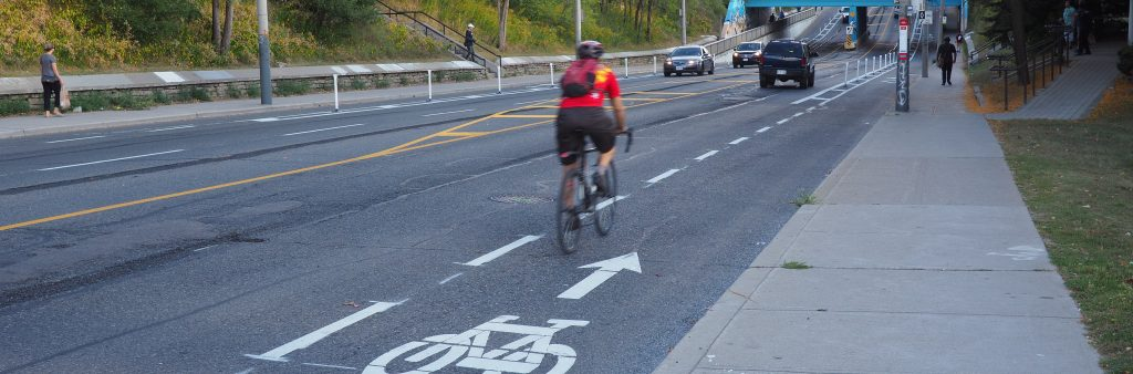 Image of a cyclists on the woodbine bike lanes