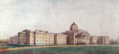 Watercolour painting of a large hospital building in 1846