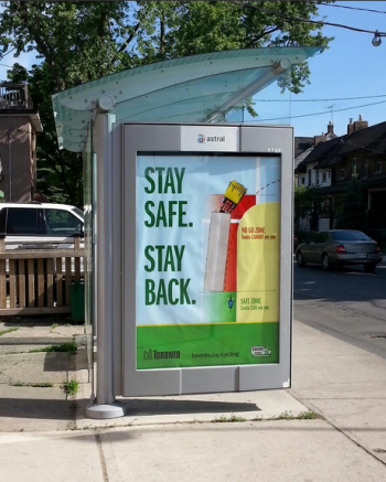 Stay Back Stay Safe bus shelter Ad