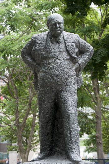Winston Churchill statue in Sculpture Court on Nathan Phillips Square.
