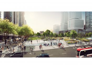 View of the future Rail Deck Park at the intersection of Iceboat Terrace and Spadina Avenue, facing north west.