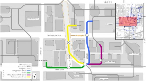 Map showing the four possible options for aligning the rest of the Northwest PATH from Union Station