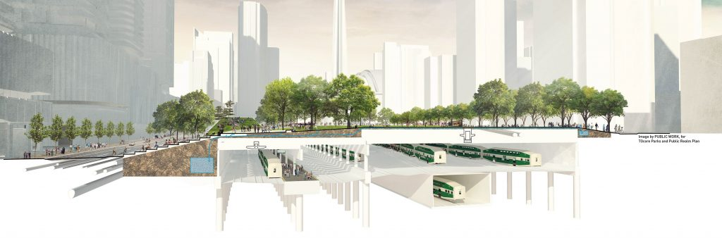 Conceptual cross-section of Rail Deck Park