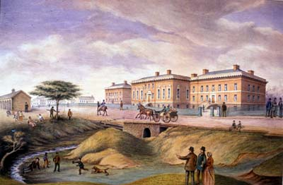 Watercolour painting of the third parliament Buildings in 1834