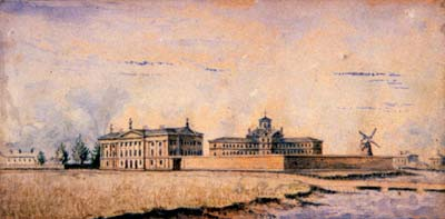 Watercolour painting of the Jail & proposed courthouse