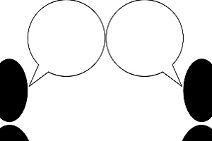 Two outlines and speech bubbles