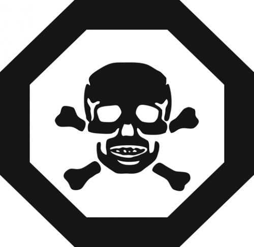universal poisonous symbol of skull and crossbones