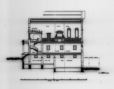 Drawing of a 2 story building showing the individual floor interiors