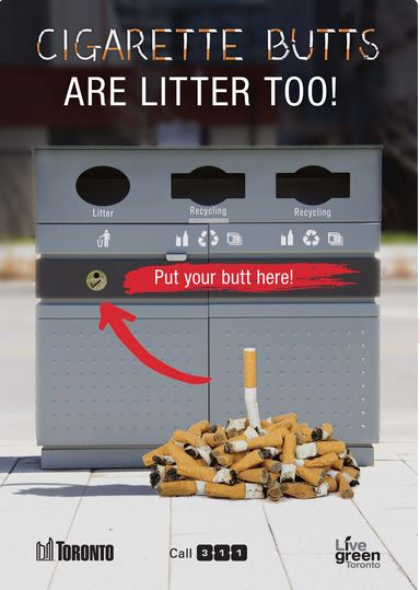 Street litter bin showing receptacle for cigarette butts.