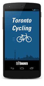 image of a phone screen showing the Toronto Cycling App