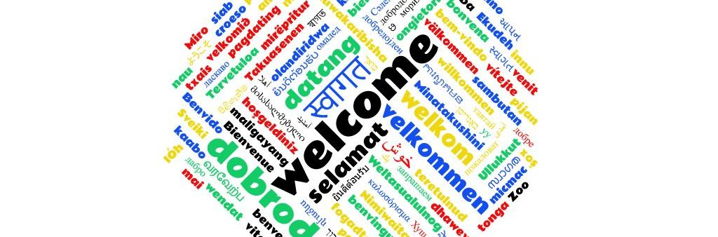 Wordcloud with word 'welcome' in many languages