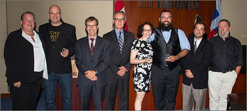 Partners category award winners for the Specialized Program for Interdivisional Enhanced Response to Vulnerability program. Left to right: Tracey Cook, Scott McKean, Peter Wallace, Peter Hardisty, Lavinia Corriero Yong-Ping, Dan Breault, Dr. Howard Shapiro and Chris Brillinger.