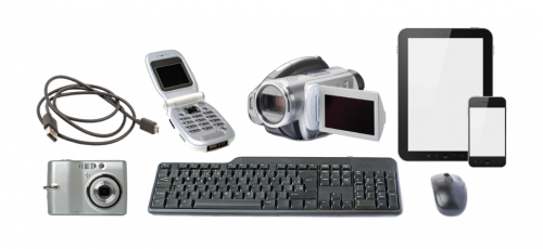Group of small electronic waste items. Includes a cellphone, computer mouse, keyboard and cable, tablet, camera and video recorder.