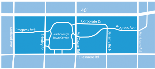 study area image for the scarborough centre transportation master plan