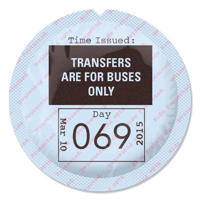 white condom wrapper looks like TTC transfer. Reads 'Transfers are for buses only. Day 069'