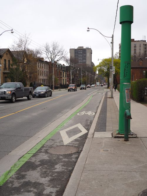 Sherbourne Cycle Track looking south